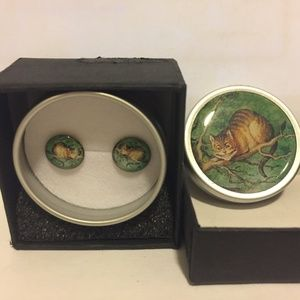 Cheshire cat earrings and tin, NWOT